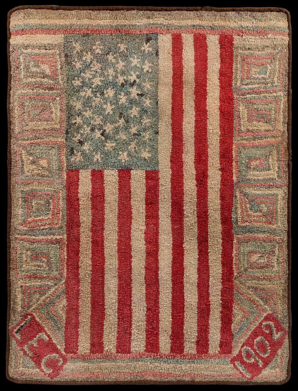 An Important Early American Flag Documented Hooked Rug, Executed By Laura  Etta Clarke, New Hampshire In 1902 U2013 Austin T. Miller