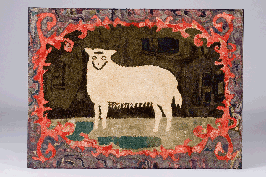 Hooked Rug Of A Sheep New England C 1880 Austin T Miller